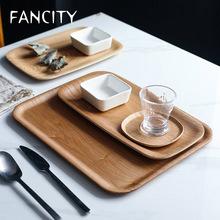 FANCITYSaucer drewniany talerz sałatkowy talerz herbaty talerz na owoce japoński Coaster prostokątny drewniany talerz domu salon zestaw płyta tanie tanio CN (pochodzenie) Stałe ceramic Rectangle