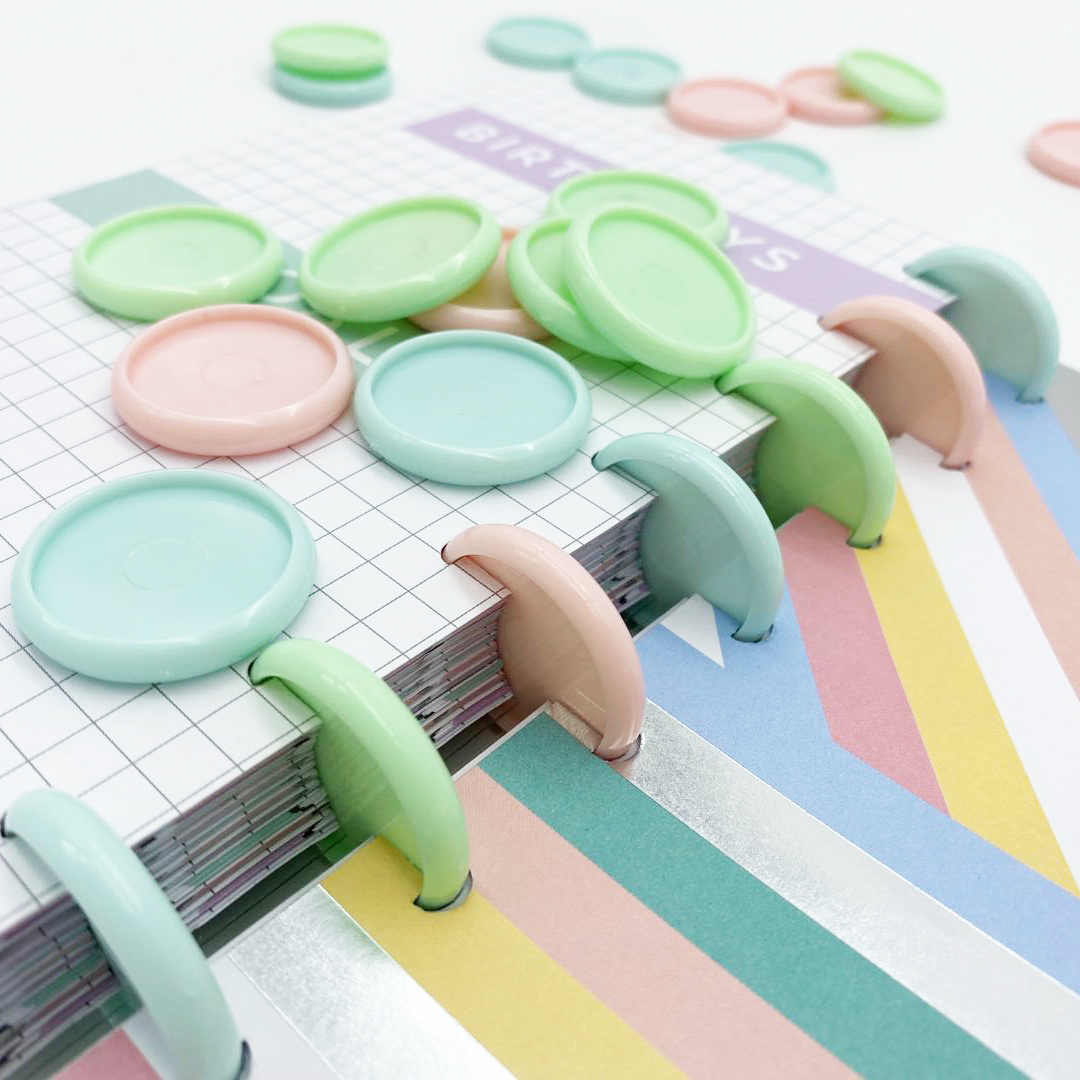 12pcs30mm Binding Rings Plastic Ring Buckle Mushroom Hole Loose-leaf Notepad Plastic Binding Discs Macaron Disc Binding Fichario