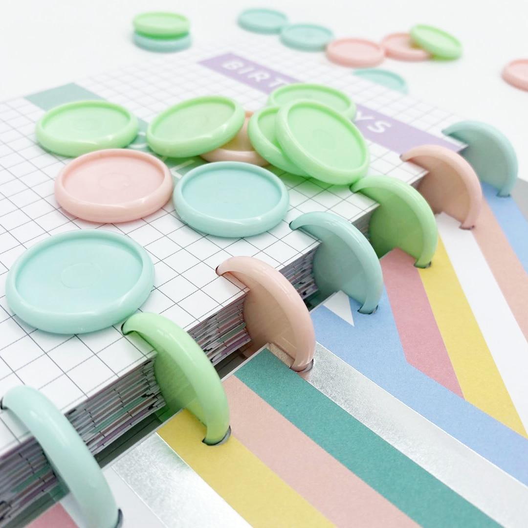 12 шт. 30 мм переплетные кольца, пластиковое кольцо с пряжкой, отверстие в виде гриба, блокнот с отверстием, пластиковые переплетные диски, Macaron...