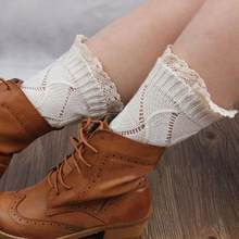2019 New Women Winter Knitted Lace Leg Warmers Socks Gift High Quality Boot Socks(China)