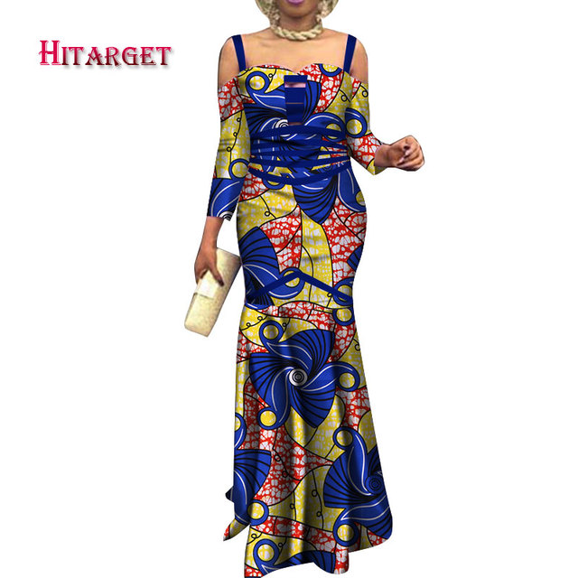 stock size low price african print Sexy strapless fishtail dress african women clothing party WY3750