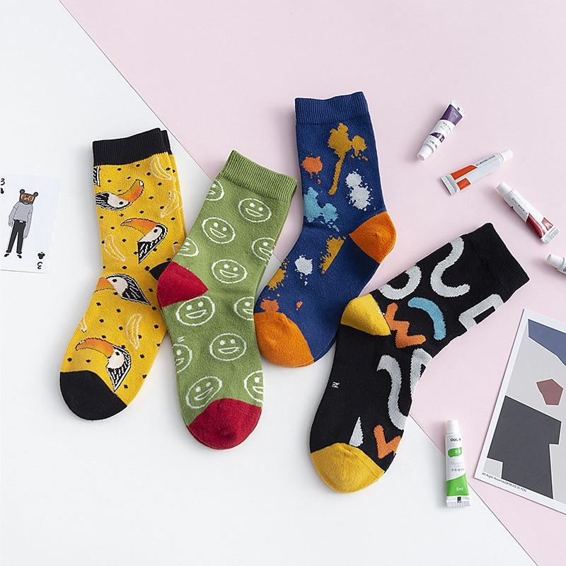 Children Cotton Socks Cartoon Animal Flamingo Dinosaur Embroidery Print Socks Boys Girls Kids Funny Colorful Footwear Fashion