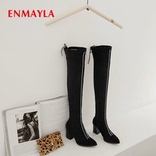 ENMAYLA Basic Winter Women Shoes Faux Suede Slim Boots Over-the-Knee  Slip-On Pointed Toe Square Heel Size 34-43