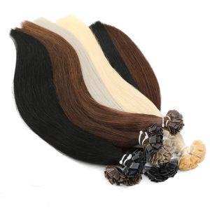 Предварительно скрепленные пряди для наращивания волос MRSHAIR, 14 дюймов, 18 дюймов, прямые капсулы для волос Remy, светлые волосы с кератиновым сп...