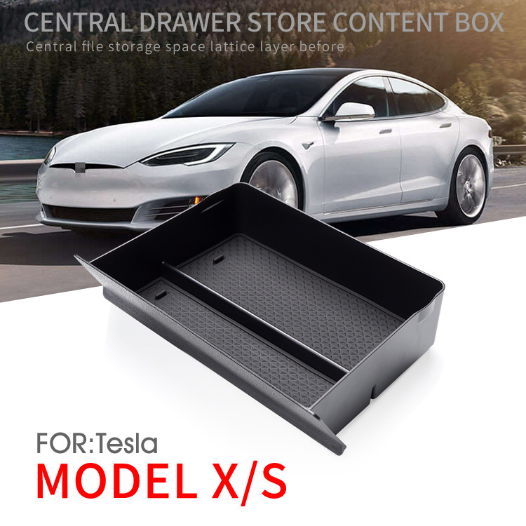 Bafire preto carro center console caixa de armazenamento para tesla modelo x/s 2012-2019 gaveta bandeja cubby para tesla caixa de armazenamento
