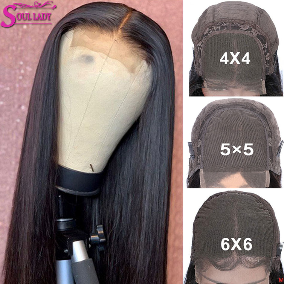 4x4 5x5 6x6 Lace Closure Wig Remy Peruvian Straight Closure Wig Human Hair Pre Plucked 30 Inch Transaprent Lace Wig 150% Density