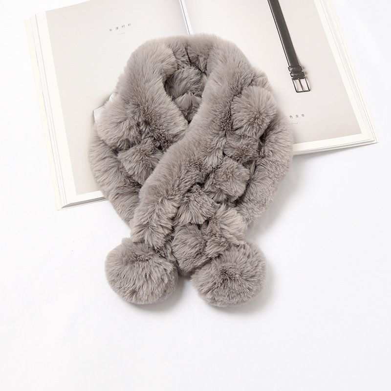 WOMEN Autumn And Winter Scarf Imitation Rabbit Fur Collar Thick Warm Plush Bib Solid Color Hair Ball Scarf SOFT