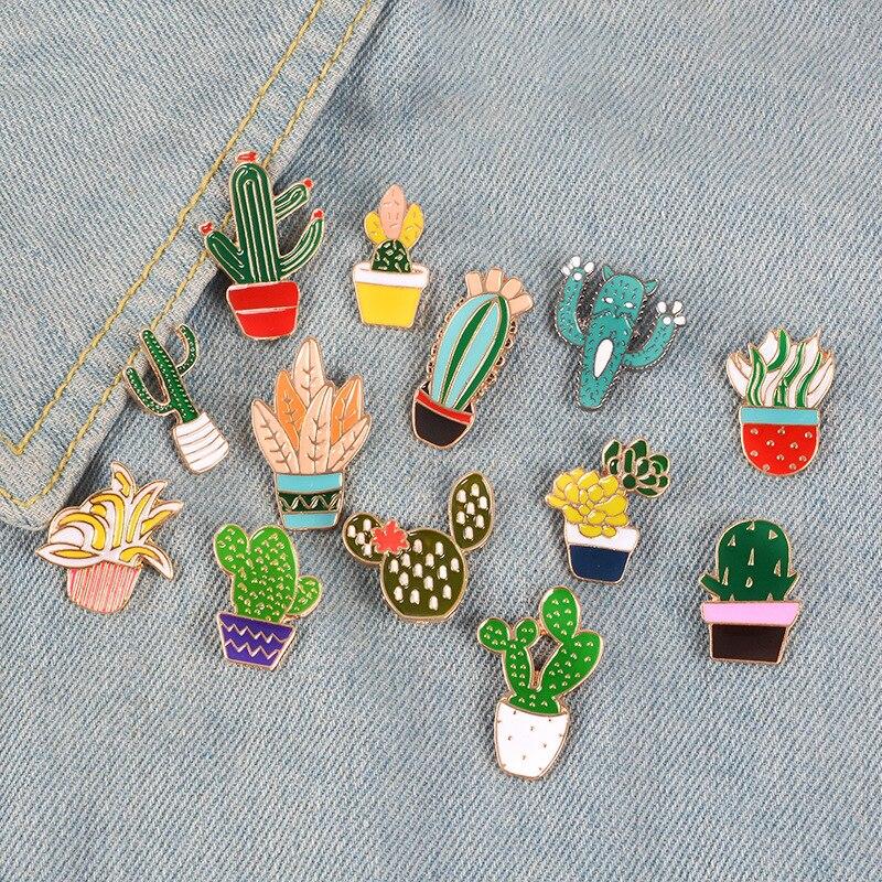 Cute Cactus Badge Plant Potted Collar Shoe Lips Enamel Brooch Coconut Tree Leaves Decorative Cartoon Pins Bag Badge Clothing