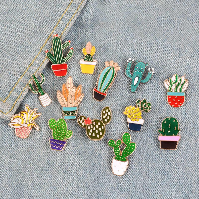 Śliczne kaktus odznaka roślina doniczkowa kołnierz buta usta broszka emaliowana drzewo kokosowe liście ozdobne rysunki szpilki torba odzież z odznaką