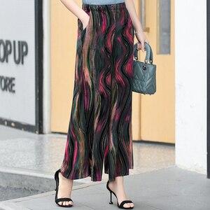 Image 5 - Женские широкие брюки в стиле ретро, повседневные пляжные праздничные брюки с высокой талией и эластичным поясом в богемном стиле, лето 2020
