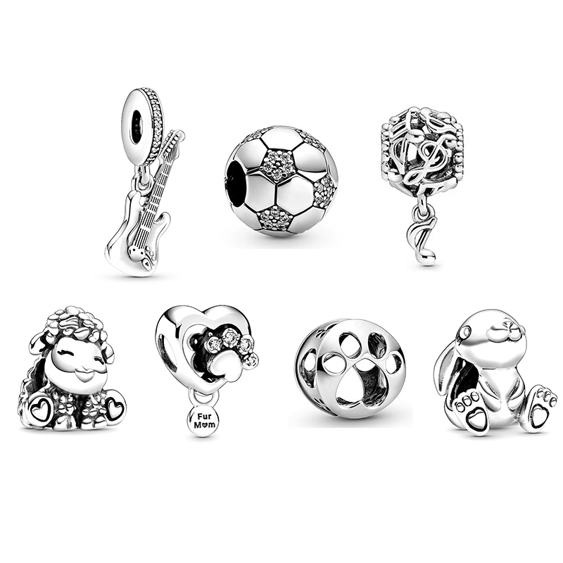 2020 New Original 925 Sterling Silver Bead Animal Soccer Music Guitar Dangle Charm Fit Pandora Bracelet Bangle DIY Women Jewelry