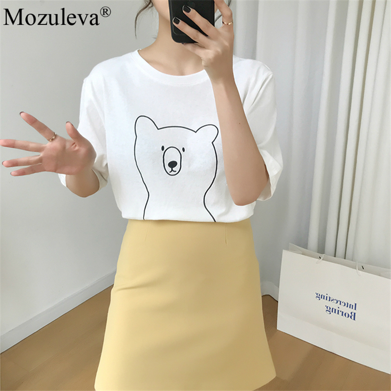 H9cace55546094583985baa8ecd7b790cz Mozuleva 2020 Chic Cartoon Bear Cotton Women T-shirt Summer Short Sleeve Female T Shirt Spring White O-neck Tees 100% Cotton