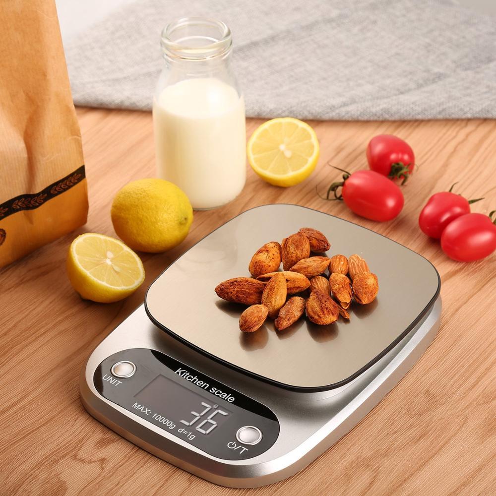 10 кг Цифровой Кухня Еда весы ЖК-дисплей Дисплей Многофункциональный Вес электронные весы для выпечки и Пособия по кулинарии торт весы серебряный черный цвет-0
