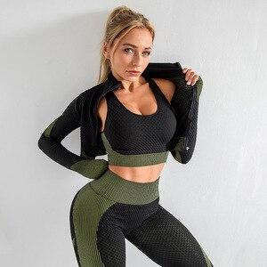 3 stück Frauen Yoga-Sets Fitness Sport Tragen Leggings Hohe Unterstützung Bh Crop Top Workout Kleidung Gym Nahtlose Yoga Anzüge