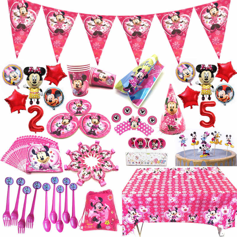 High Quilty Pink Minnie Mouse Party Supplies Baby Girl Happy Birthday Kids Party Decoration Disposable Tableware Set Suppliers