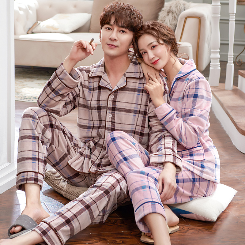 Men Pajamas Winter Island Velvet Pajama Set Plus Size 3XL Coral Fleece Casual Thick Homewear Warm Sleepwear Women Pijama Mujer