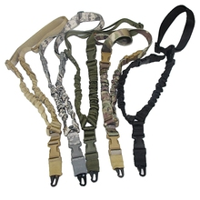 Tactical Gun Sling Single One Point Rifle Sling Heavy Duty Mount Hunting Adjustable Military Gun Strap Bungee Cord System CP Tan tactical hunting gun sling adjustable 1 single point bungee rifle sling strap system new 3 colors