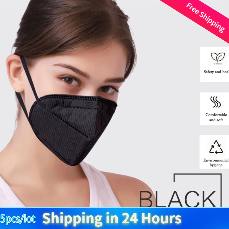 5 Pc Black Breathable Cycling Mask KN95 Face Mask Anti PM2.5 Protective Mask Anti-Fog Dust-proof Mouth Mask Fast Shipping