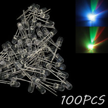 100 piezas de LED diodo DIY de colorido RGB flash lento 5MM Urtal brillante(China)