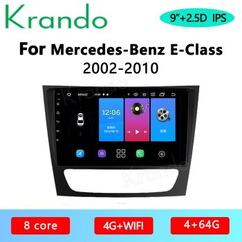 Krando Android 10.0 9 IPS Full Touch Car Multimedia Radio For Mercedes Benz E-Class 2002-2010 Audio GPS Carplay DSP WIFI image