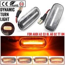 2pcs For Audi A2 A3 8L A4 B5 A6 4B C5 A8 4D TT 8N LED Dynamic Side Marker Light Turn Signal Light Indicator 8N0 949 127A