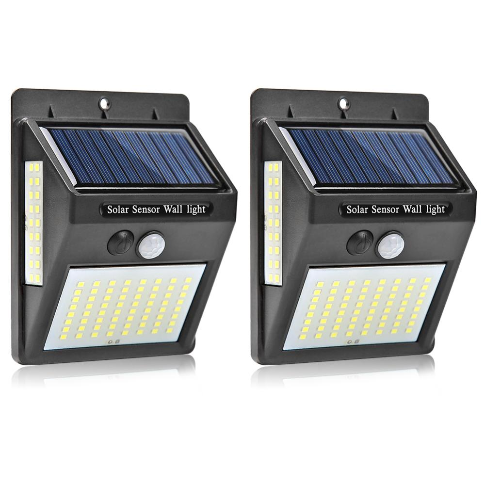 2PCS 100LEDs Solar Light Outdoor Solar Lamp PIR Motion Sensor Wall Lamp Waterproof Garden Solar Powered Light