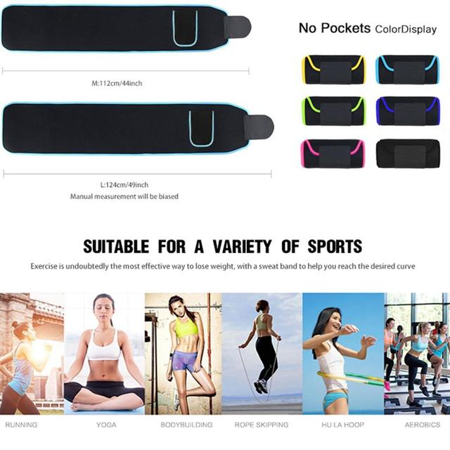 Unisex Waist Trimmer Trainer Fitness Workout Elastic Shaping Sweat Sauna Abdomen Sports Fitness Belt with Pocket for Cell Phone 5