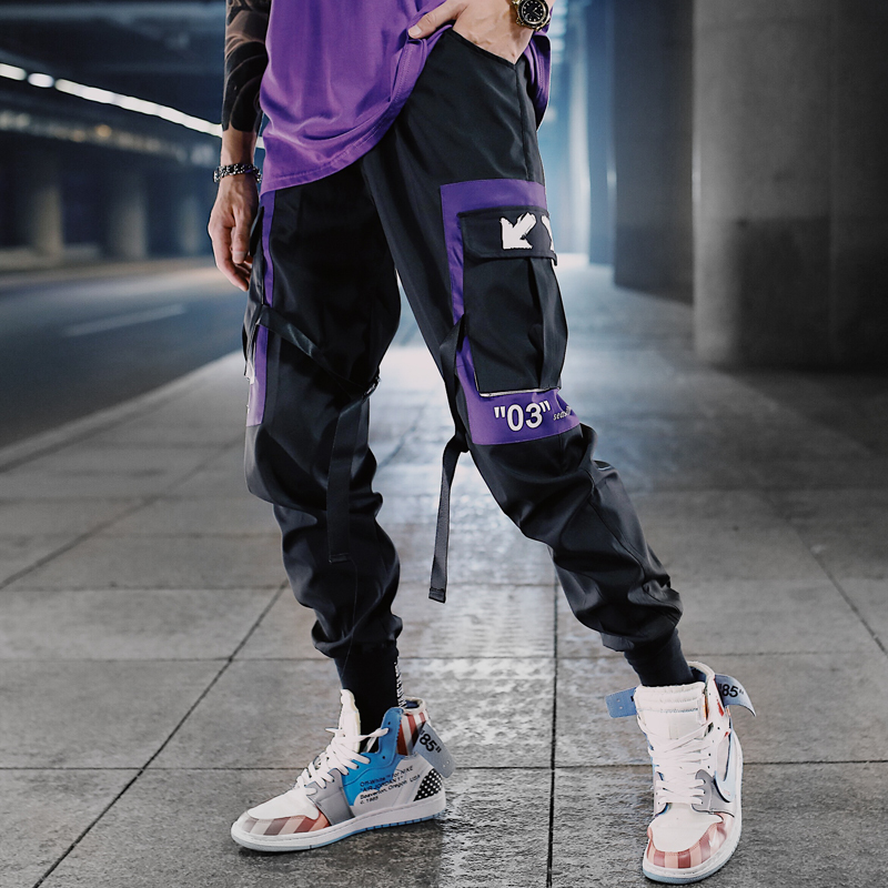 Hip Hop Ribbons Cargo Pants Men Joggers Pants Streetwear Men 2020 Fashion Mens Elastic Waist Pant Ribbons Cotton Black W117(China)