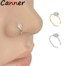 Canner – anneaux de nez En strass pour femmes, 1 pièce, Piercing unisexe En fleur de prunier, anneau scintillant, bijoux à la mode
