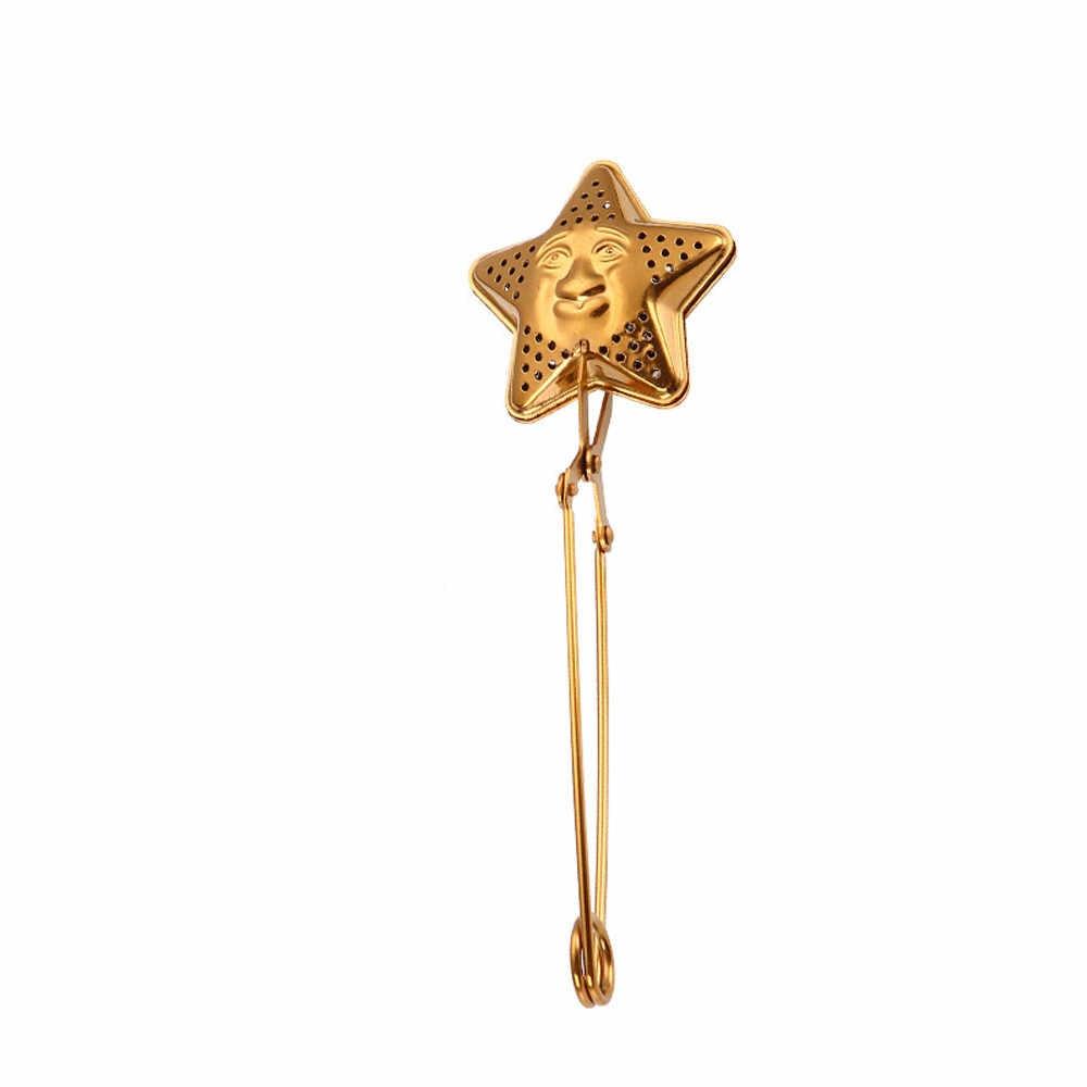 Hình ngôi sao Lưới Trà Ốp Lưới Lọc Thép không gỉ Tay Cầm Trà Bóng Nhà Bếp Tiện Ích Cà Phê Thảo Mộc Lọc Gia Vị Máy Khuếch Tán Tinh Dầu Trà Gỉ Màng
