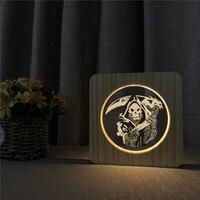 Geist Tragen Messer 3D LED Lampe Arylic Nacht Tisch Licht Switch Control Carving Lampe für Kinderzimmer Dekoration Dropshipping-in LED-Nachtlichter aus Licht & Beleuchtung bei