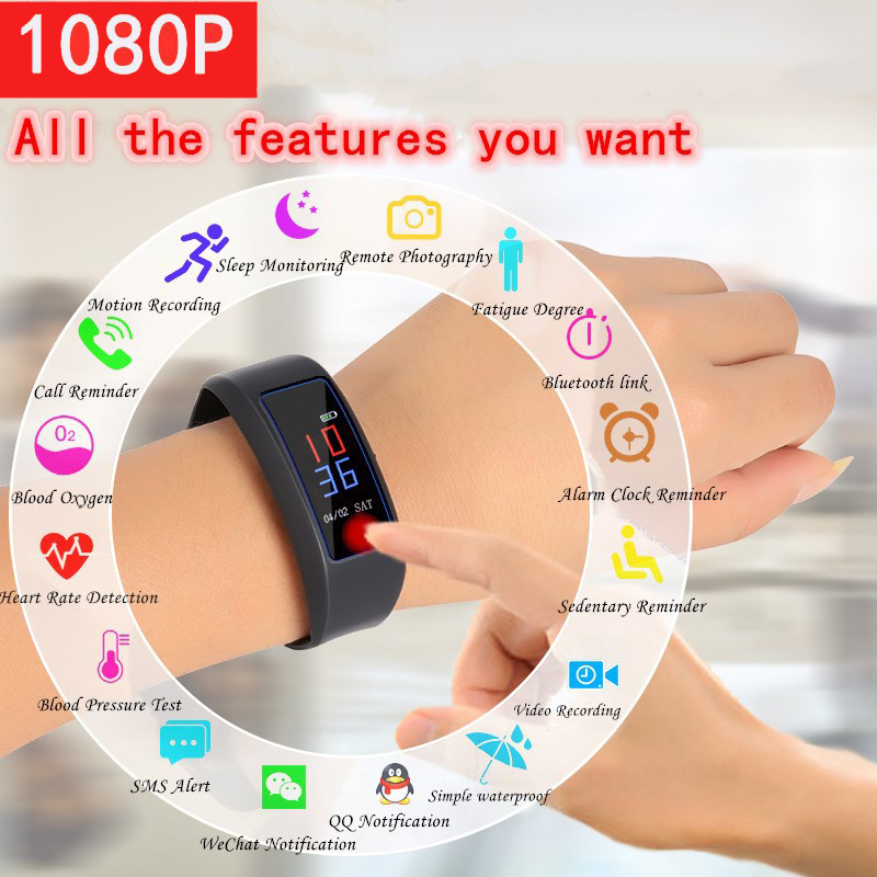 1080P HD Video Camera Recorder Cam Smartband Wristband Bracelet Sound Voice Recording Touch Screen