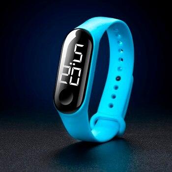 ילדים LED דיגיטלי שעון יוקרה לבן אור מגע מסך סיליקון רצועת שעוני יד נשים ספורט יוגה צמידי שעוני ילדים שעונים