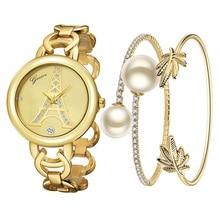 Bracelet Watch Montre Quartz-Clock Crystal Diamond Gold Reloj Women with 3-Eye Mujer