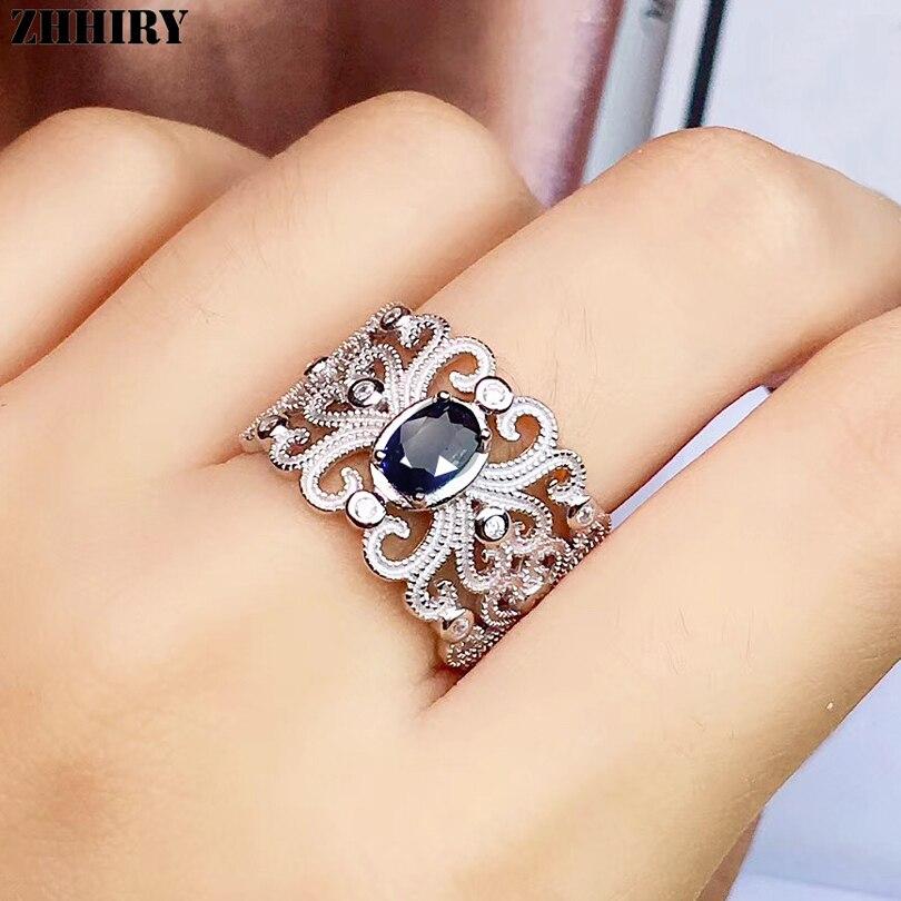 ZHHIRY véritable saphir naturel 925 argent Sterling pour les femmes anneaux véritable bague de pierres précieuses précieux bijoux fins