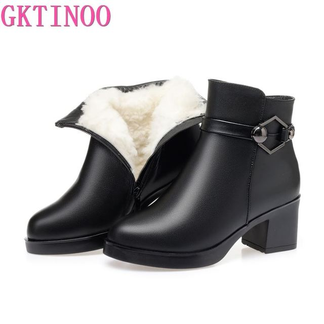 GKTINOO Winter Shoes Womens Genuine Leather Ankle Boots Wool Warm Woman Snow Boots Big Size High Heels Ladies Shoes