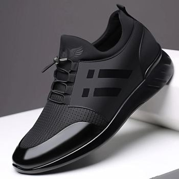 RayZing 2020 Men's Fashion Sneakers Man Casual Shoes Breathable Men Genuine Leather Shoes Big size Increasing Office Footwear