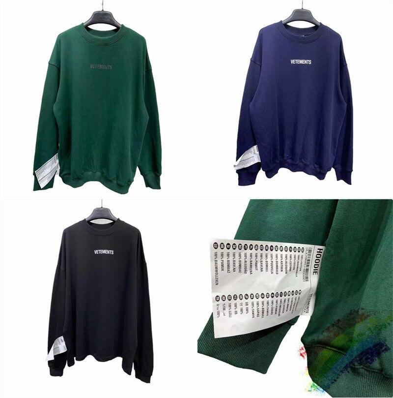 Round Neck Vetements Sweatshirts Autumn Winter 1:1 Best Quality  Vetements Sweatshirts Big Tag Vetements Hoodie Pullover