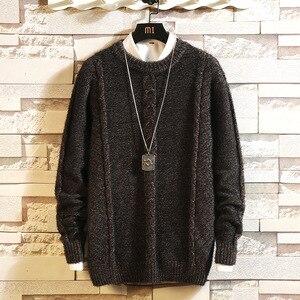 Повседневный свитер с круглым вырезом для мужчин, пуловер с длинными рукавами для весны и зимы размера плюс M-5XL 2019