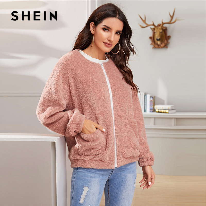 SHEIN Pink Solid Zipper Front Casual Teddy Jacket Coat Women 2019 Winter Streetwear Long Sleeve Double Pocket Ladies Outwear 4