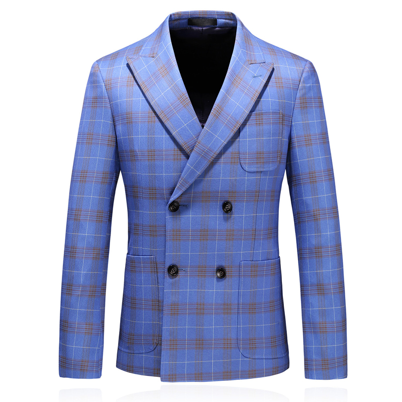 2019 New Arrival Double Breasted Men Plaid Suit Blazer Jacket Plus Size 5xl Men Classic Blazers