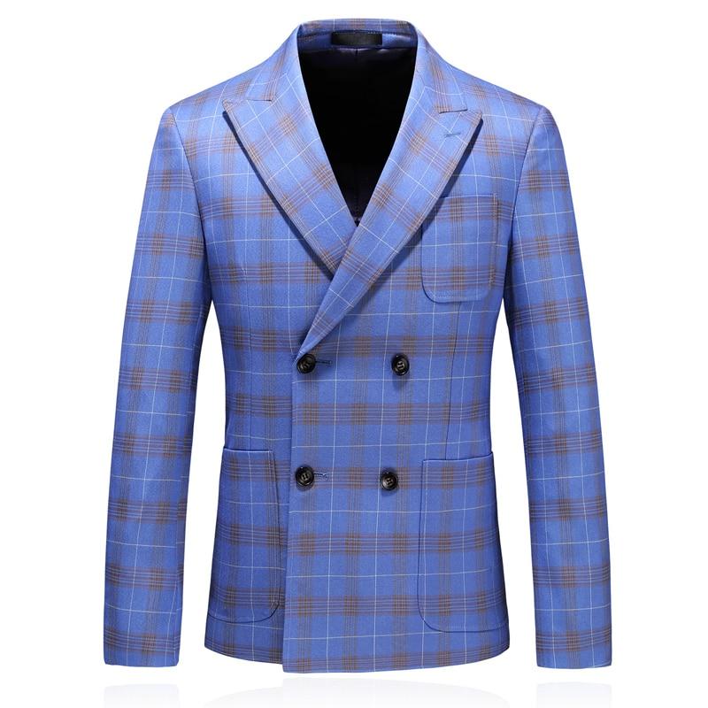 2019 New Arrival Double Breasted Men Plaid Suit Blazer Jacket Plus Size 5xl Men Classic Blazers