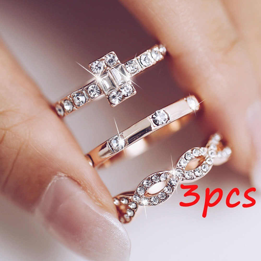 3Pcs/Set Fashion Geometric Intersect Crystal Rings Set for Women Girls Engagement Rings Female Wedding Party Jewelry Gifts