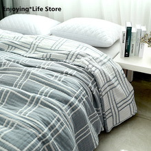New Japan Pure Cotton Thickened Blanket Single Double Soft Cotton Breathable Towel Blanket Summer Quilt