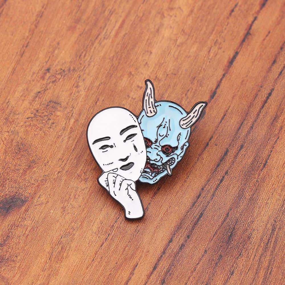 공포 악마 여자 핀 악마 마스크 브로치 일본 문화 영감을 된 보석 에나멜 핀 진 셔츠 가방 만화 보석 선물
