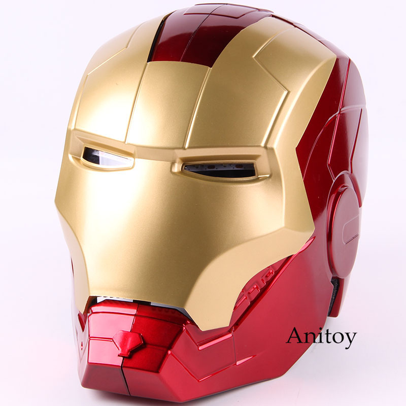 Marvel Avengers Iron Man Helmet Mask Motorcycle Iron Man Cosplay Helmet 1:1 Light Eyes PVC Action Figure Collectible Model Toy-in Action & Toy Figures from Toys & Hobbies