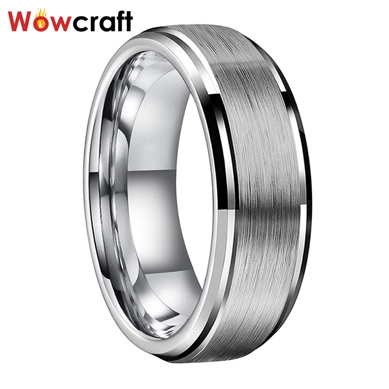 Tungsten Carbide Ring 8mm for Men Polished Beveled Edges Brushed Finish Wedding Bands ring Comfort Fit