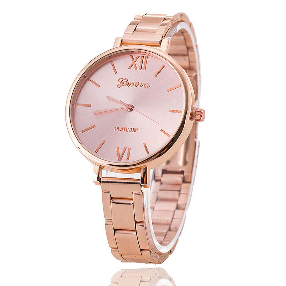 Quality Geneva Women Men Fashion Military Stainless Steel Analog Date Sport Quartz Wrist Watch Business Gift  Femin Womens Watch