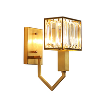 Modern Copper Crystal LED Wall Lamps Indoor Decor Sconces Bedroom Light Fixture Bedside Living Room Aisle Stair Wall Lights free shipping modern crystal wall lamp g4 wall light for home bedroom fashion fixture indoor lighting sconces decor wl063