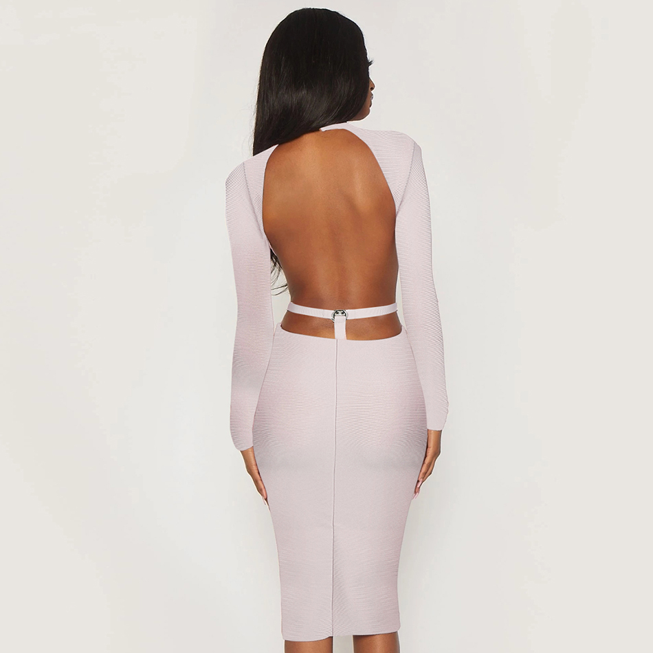 ADYCE New Spring Sexy Backless Bodycon Bandage Dress Nude Long Sleeve Midi Club Celebrity Evening Runway Party Dresses Vestidos